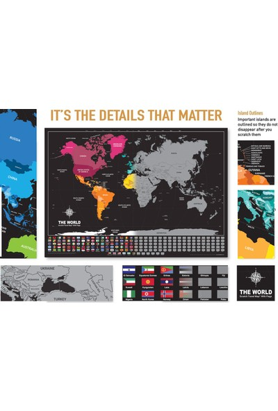 Ps Scratch Map Kazınabilir Dünya + Türkiye Haritası 2 Adet Harita Seti Büyük Boy Kutulu