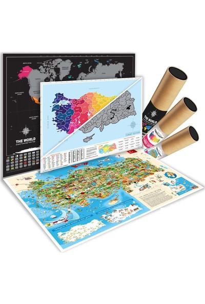 Ps Scratch Map Kazınabilir Dünya + Türkiye Karikatür Harita 3'lü Set
