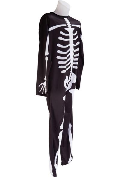 Janjan Kostüm Iskelet Baskılı Siyah Kostüm