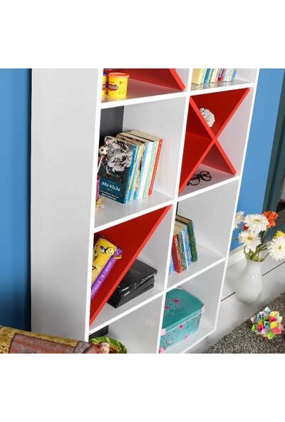 Adore Gaming 10 Raflı Dekoratif Kitaplık Beyaz - Kırmızı