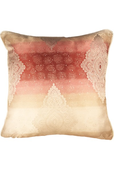 Arasta Design Pembe-Lila ve Krem Saten Damask Işlemeli Kırlent Kılıfı