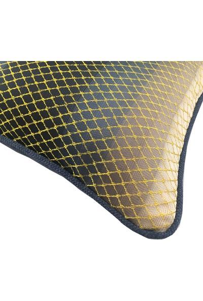 Arasta Design Lacivert- Sarı Saten Dokulu Kırlent Kılıfı