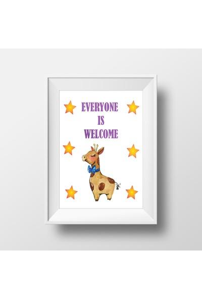 Bebek Odası Çerçeve Zürafa Figürlü Mesaj - 21 x 30 cm