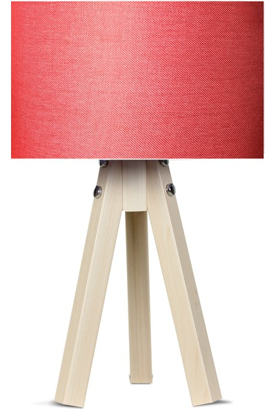 Karino Deco 3 Ayaklı Kumaş Abajur Kırmızı Başlık Naturel Ayak