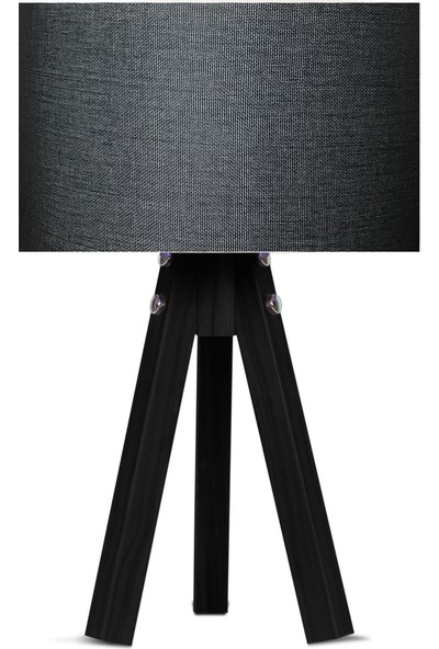 Karino Deco 3 Ayaklı Kumaş Abajur Siyah Başlık Siyah Ayak