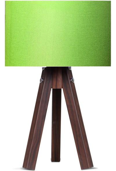 Karino Deco 3 Ayaklı Kumaş Abajur Yeşil Başlık Kahve Ayak