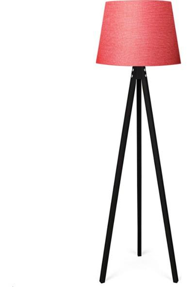 Karino Deco 3 Ayaklı Kumaş Konik Lambader Kırmızı Başlık Siyah Ayak