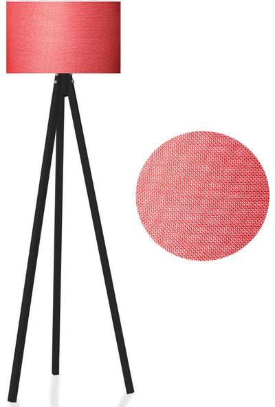 Karino Deco 3 Ayaklı Kumaş Lambader Kırmızı Başlık Siyah Ayak