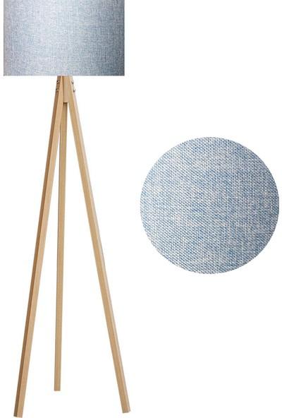 Karino Deco 3 Ayaklı Kumaş Lambader Mavi Başlık Naturel Ayak