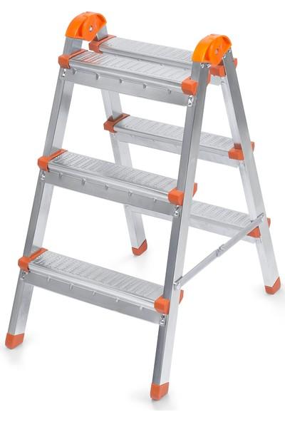 Elbe 3+3 Çift Çıkışlı Metal Merdiven