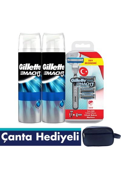 GilletteMach 3 Turbo Fırsat Paketi + Çanta – Turbo Makine + 4 Bıçak + Mach 3 2li Jel + Gillette Çanta