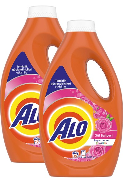 Alo 2 x 40 Yıkama (80 Yıkama) Sıvı Çamaşır Deterjanı Gül Bahçesi