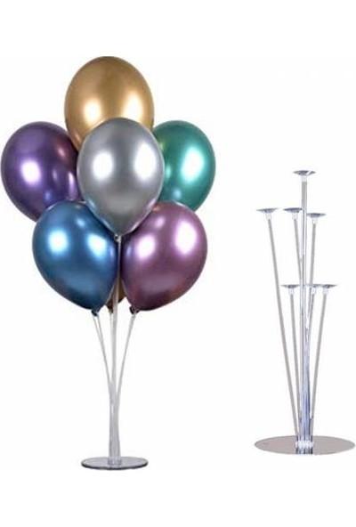 Buldum Balon Standı 7'li ve 7 Adet Karışık Krom Balon