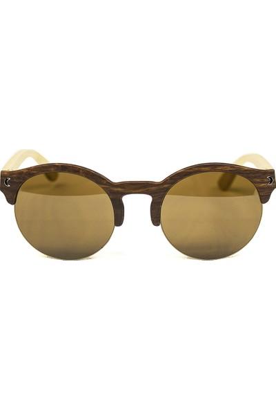 FashionMoon Wooden Yuvarlak Yarım Kahverengi Camlı Erkek Güneş Gözlüğü