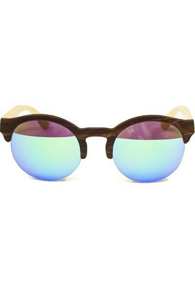 Fashion Moon Wooden Yuvarlak Yarım Çerçeve Mavi Aynalı Erkek Güneş Gözlüğü