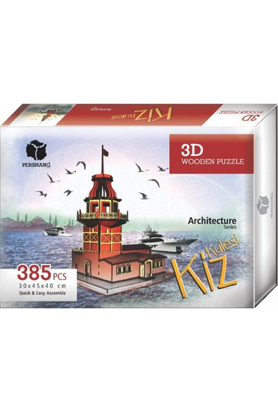 Pershang Kız Kulesi 385 Parça Ahşap 3D Puzzle