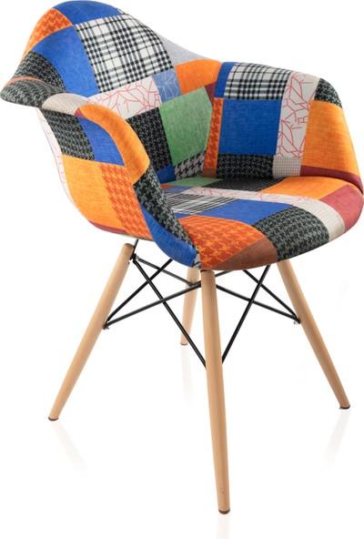 Dorcia Home Kolçaklı Patchwork Eames Sandalye - Cafe Balkon Mutfak Sandalyesi