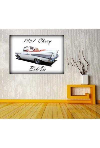 Zelyum 1957 Chevy Belair Yağlı Boya Görünümlü Kanvas Tablo