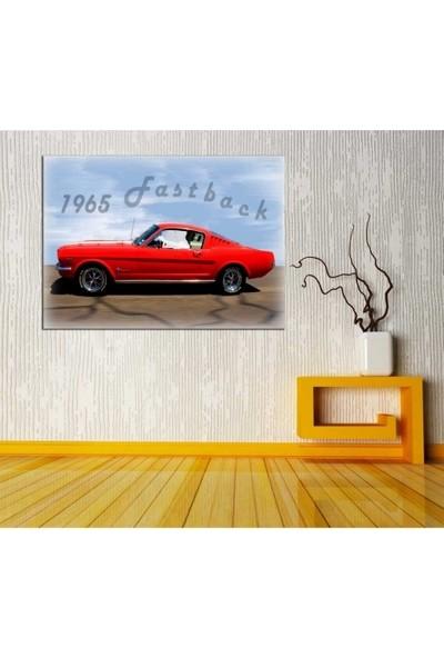 Zelyum 1965 Ford Mustang Yağlı Boya Görünümlü Kanvas Tablo
