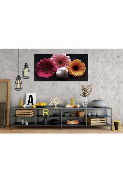 Zelyum 3 Çiçek Panoramik Kanvas Tablo