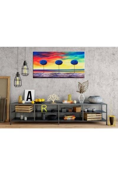 Zelyum 3 Ağaç Yağlı Boya Görünüm Panoramik Kanvas Tablo
