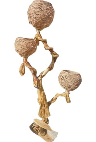 Kumsal Doğal Halatlı Lambader Kütük Ağaç