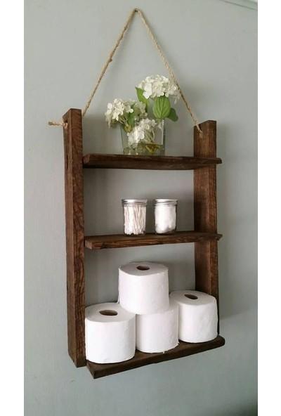 Ahşap Evim Çok Amaçlı Dekoratif Ahşap Banyo Mutfak Duvar Rafı Tuvalet Kağıtlığı