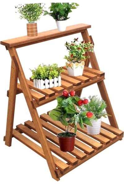Ahşap Evim Çok Amaçlı Dekoratif Ahşap Raflı Çiçek Saksı Rafı Standı