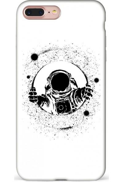 Mefeshop Samsung Galaxy J4+ Plus Astronot Baskılı Baskılı Telefon Kılıfı Beyaz
