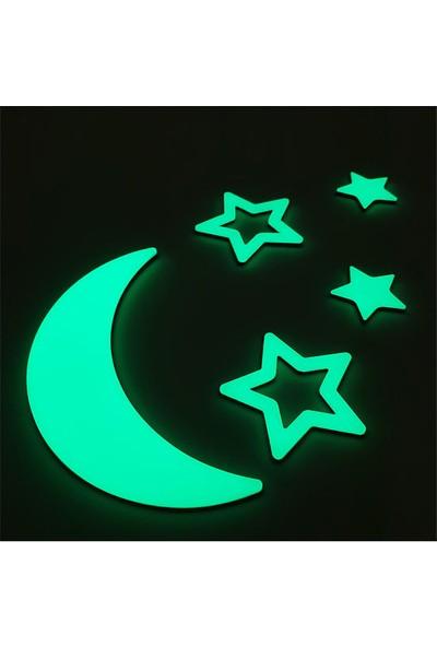 Faami Style Fosforlu Ay ve 4 Adet Yıldız ( Karanlıkta Parlaması Garantili ) Fosforlu Duvar Süsü