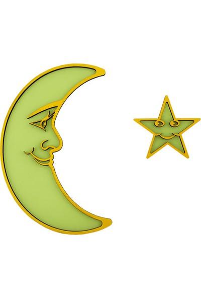 Faami Style Fosforlu Aydede ve Yıldız ( Karanlıkta Parlaması Garantili ) Sarı 22 cm, Fosforlu Duvar Süsü