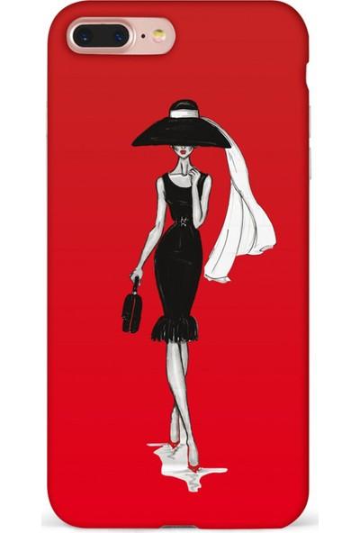 Mefeshop Samsung Galaxy J7 Max Kadın Figürlü Baskılı Telefon Kılıfı Kırmızı