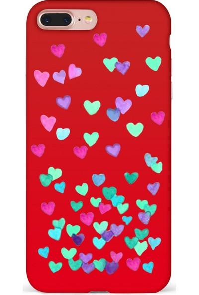 Mefeshop Huawei Mate 20 Lite Kalp Desenli Baskılı Telefon Kılıfı Kırmızı