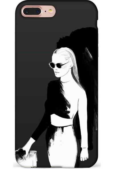 Mefeshop Samsung Galaxy A30 Kadın Figürlü Baskılı Telefon Kılıfı Siyah