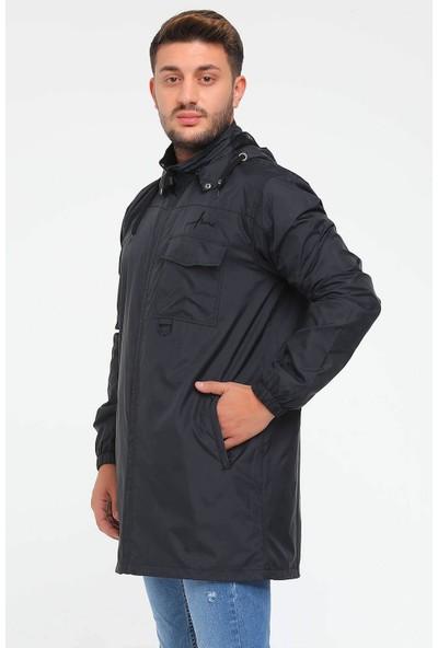 Haşema Kapüşonlu Siyah Erkek Yağmurluk