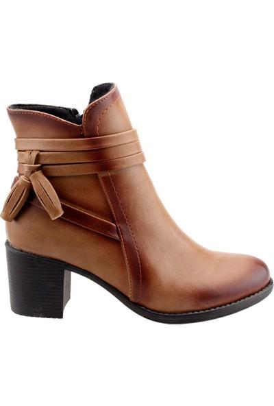 Ayakland 8422-832 Günlük 6cm Topuk Termo Kadın Bot Cilt Ayakkabı Vizon