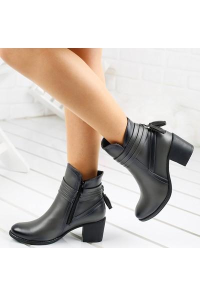 Ayakland 8422-832 Günlük 6cm Topuk Termo Kadın Bot Cilt Ayakkabı Gri