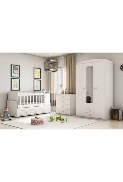 Alyans Bebek Mobilyaları Bebek Odası Takımı, 3 Kapılı Dolap, 4 Çekmeceli Şifonyer, Büyüyen Beşik Komidini Kapaklı