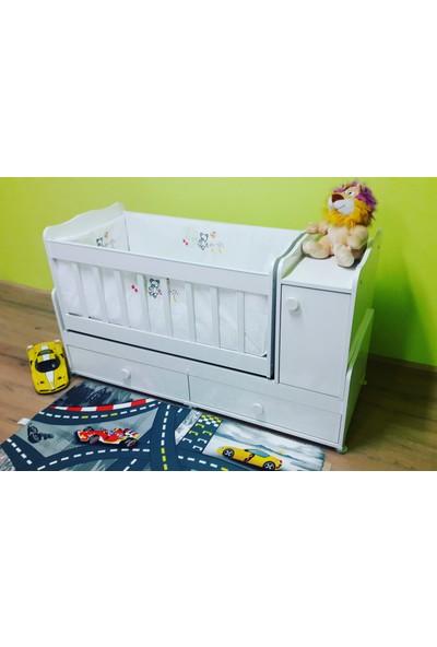 Alyans Bebek Mobilyaları Büyüyen Beşik Komidini Kapaklı, Sallanan ve Sabitlenen