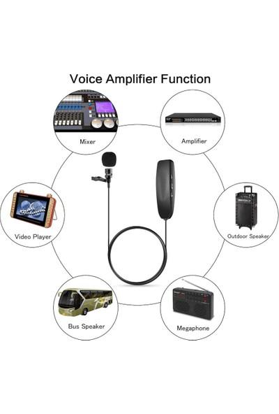 Giyilebilir Kablosuz Vericili Yaka Mikrofonu Siyah