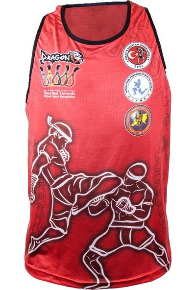 Dragon Muay Thai Federasyon Logolu Dijital Baskılı Atlet-Kırmızı