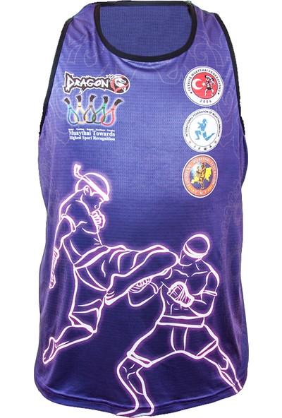 Dragon Muay Thai Federasyon Logolu Dijital Baskılı Atlet - Mavi