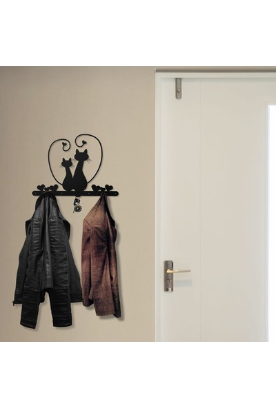 Bsign Askılık, Metal Iki Kedili Dekoratif Duvar Askısı, Elbise Askılığı
