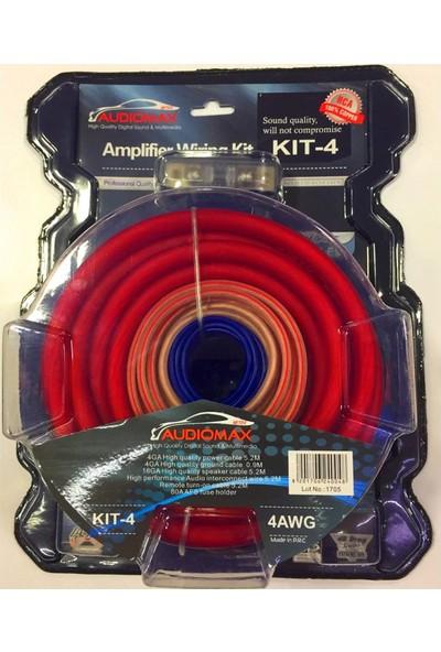 Audiomax Anfi Tesisat Kablo Seti Kıt 4(Kalın Kablo) Oto Müzik Montaj Kablo