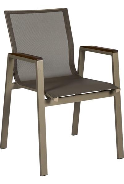 Locca Fileli Alüminyum Textilen Sandalye Cappuccino 4 Kişilik
