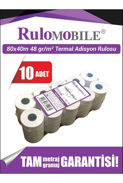 Rulo Mobile 80 x 40 m Termal Rulo (10 Adet) 48 g/m²