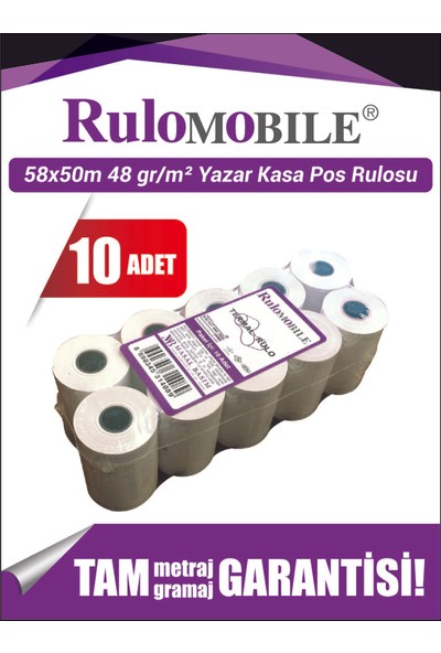 Rulo Mobile 58 x 50 m Termal Rulo (10 Adet) 48 g/m²