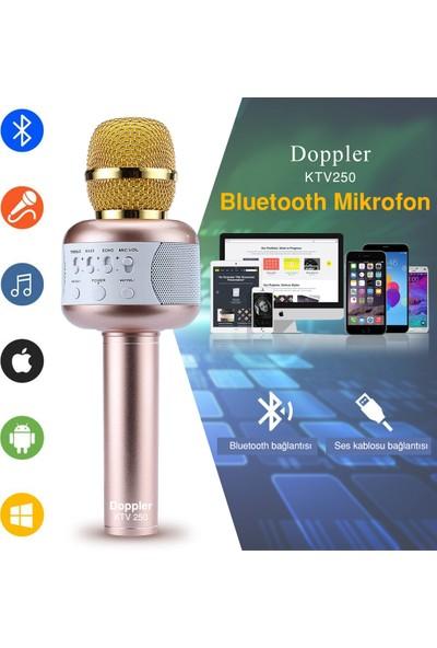 Doppler KTV250 Bluetoothlu ve Hoparlörlü Karaoke Mikrofonu - Altın (sünger ve ışık hediyeli)