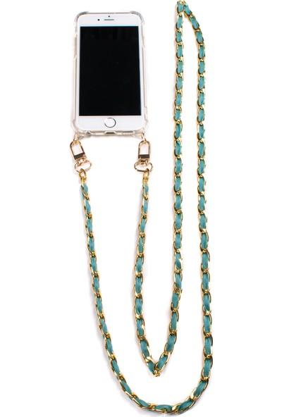 Mymecans Huawei P30 Lite Gold Zincir ve Deri Detaylı Askılı Cep Telefonu Kılıfı - Turkuaz