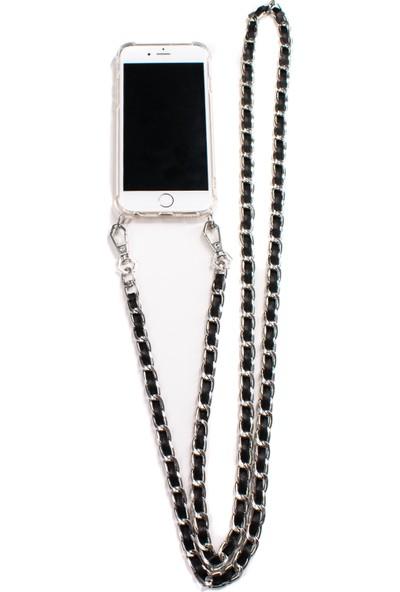 Mymecans Huawei P30 Lite Silver Zincir ve Deri Detaylı Askılı Cep Telefonu Kılıfı - Siyah